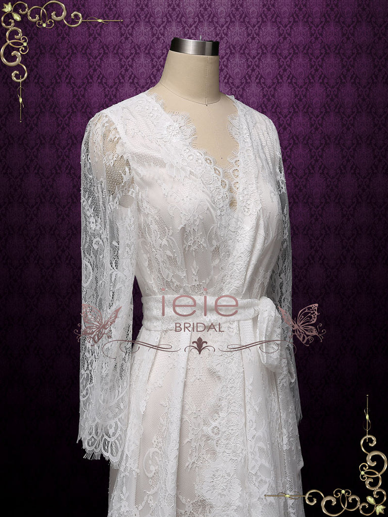 Short Wedding Bridal Boudoir Robe with Long Sleeves Clarise