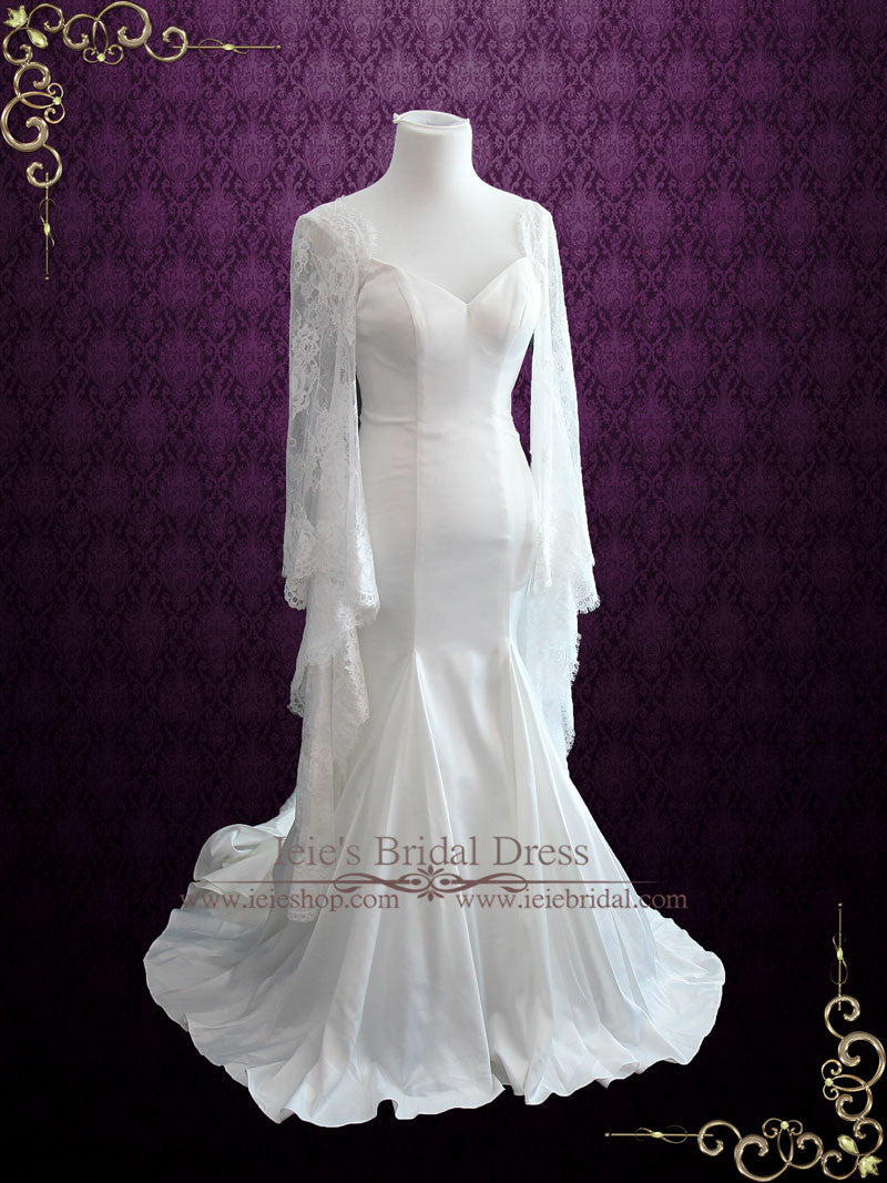 Lace bell sleeves wedding dress