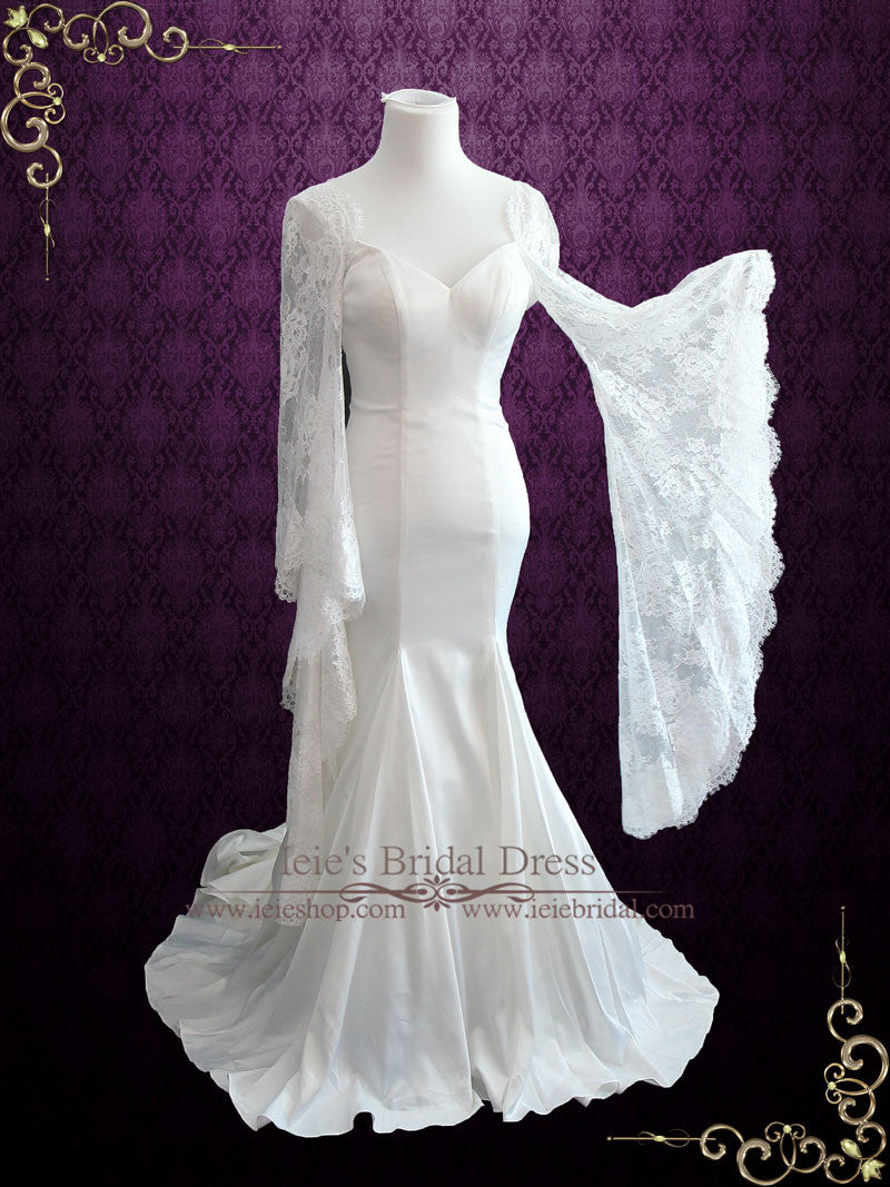 Mermaid Satin Wedding Dress With Lace Bell Sleeves