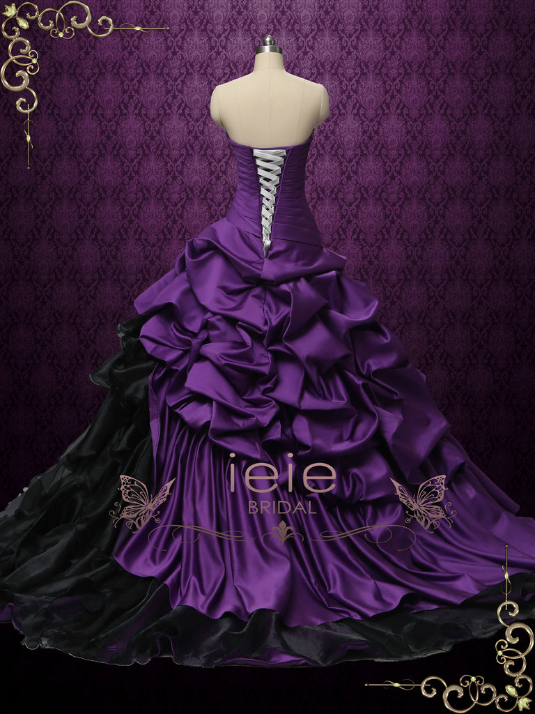 Gothic Purple and Black Strapless Wedding Dress | CONSTANCE