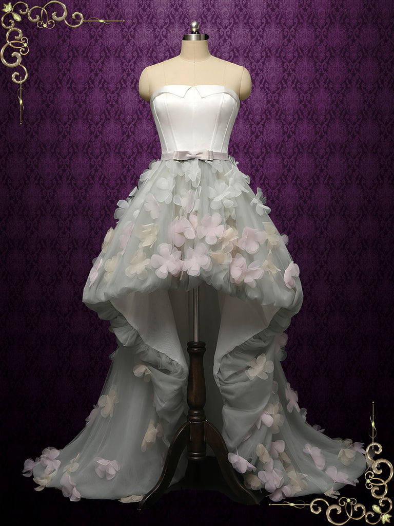 Gray Strapless High Low Wedding Dress with Petals NOVA