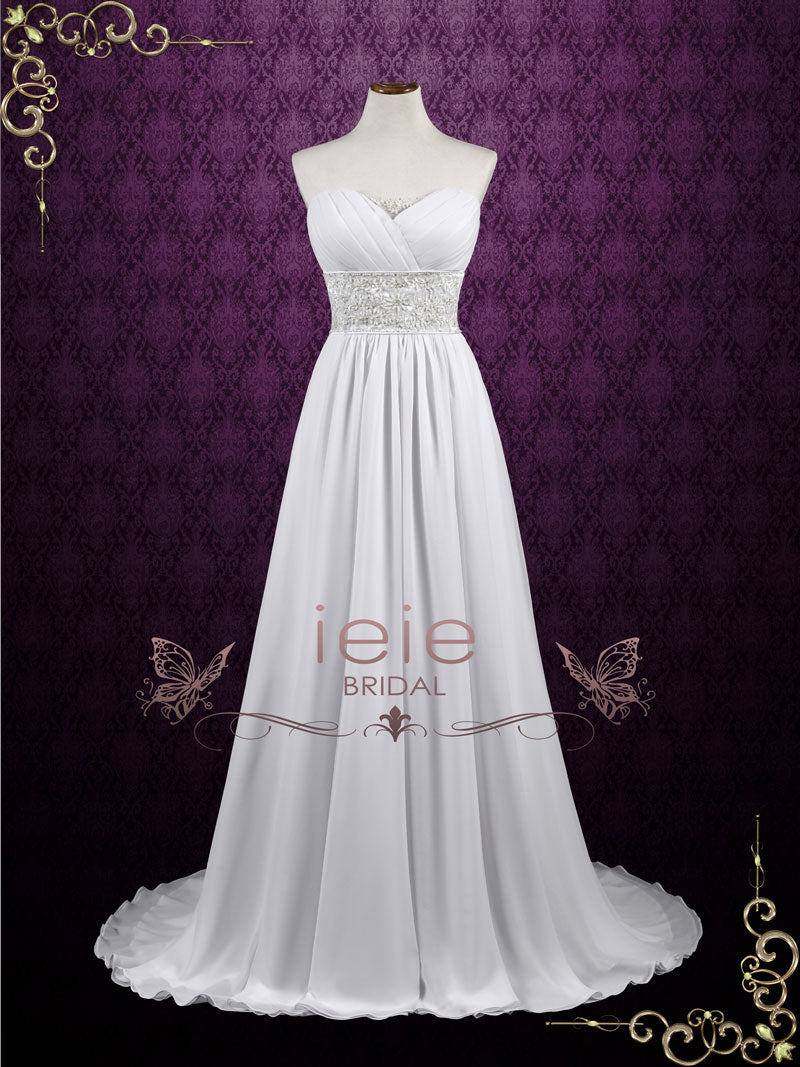 Grecian Empire Sheath Cap Sleeves Chiffon Wedding Dress