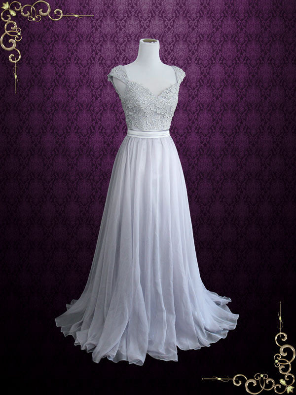 Gray Cap Sleeves Lace Chiffon Long Evening Dress