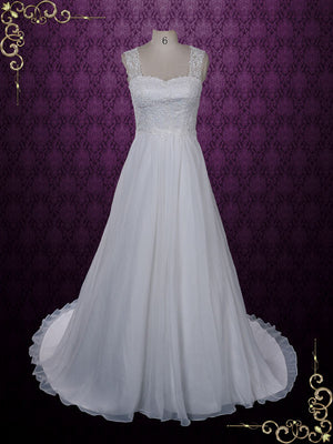 Grecian Lace Chiffon Wedding Dress with Keyhole | Evon