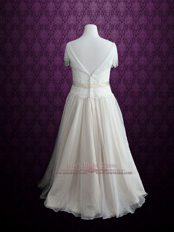 Vintage Lace Chiffon Wedding Dress with Jeweled Sash and Fringe Cap Sleeves | Lilly