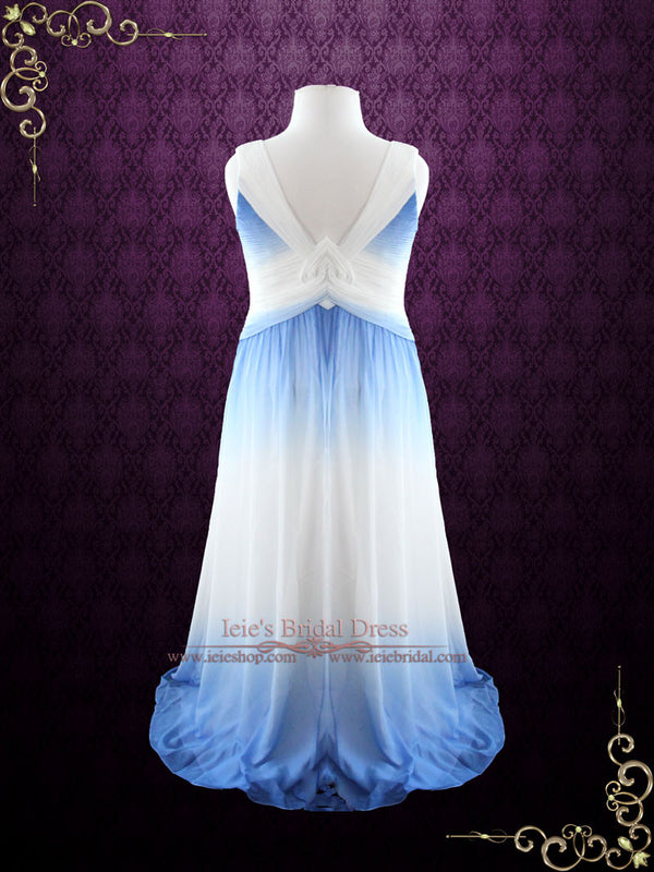 Grecian Blue Changing Color Chiffon Formal Prom Dress Size 10
