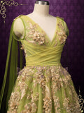 Green Gold Lace Wedding Dress JULIANNE