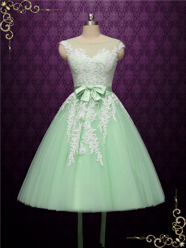 Short Green Tea Length Wedding Dress | Rosalie