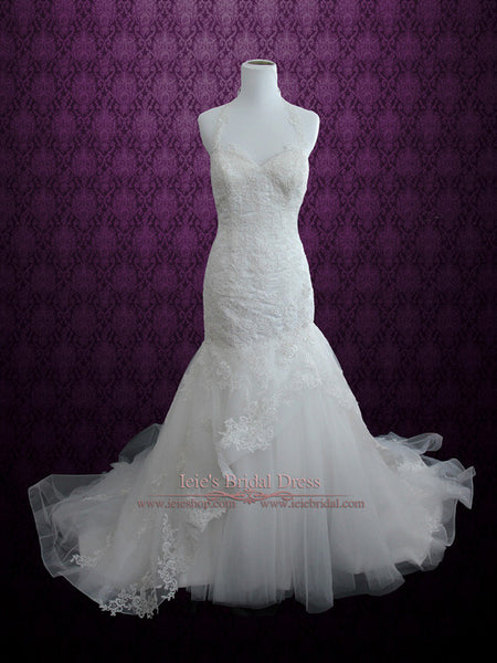 Fit and Flare Lace Wedding Dress with Halter Neckline | April