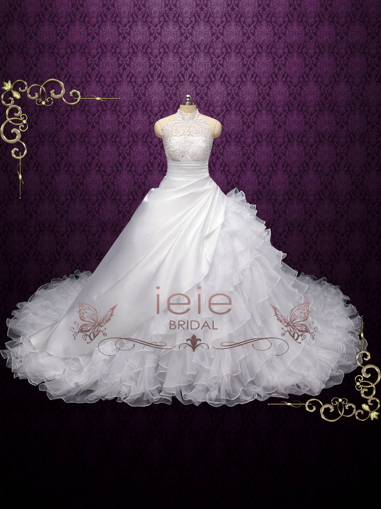 Halter Lace Asymmetrical Ball Gown Wedding Dress VALTINA