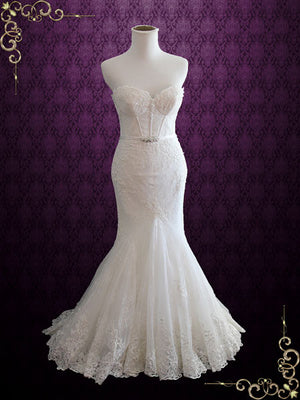 Exquisite Designer Lace Mermaid Wedding Dress