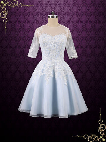 Ice Blue Short Lace Wedding Dress With Half Sleeves