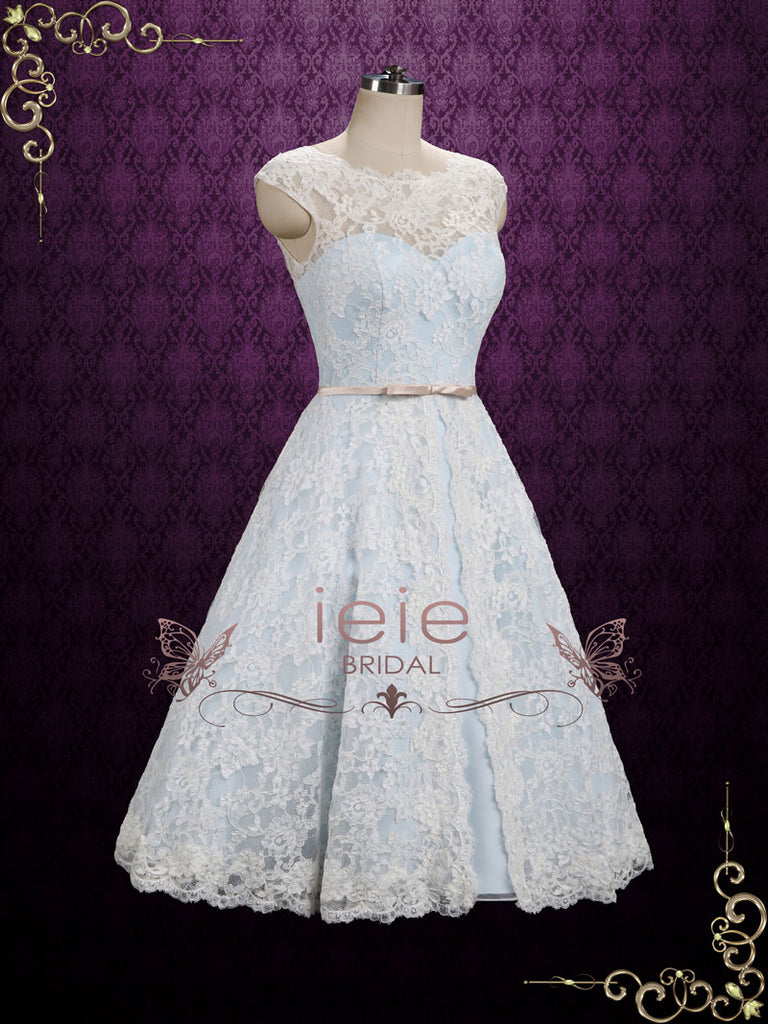 Ice Blue Vintage Lace Tea Length Wedding Dress | Shannon