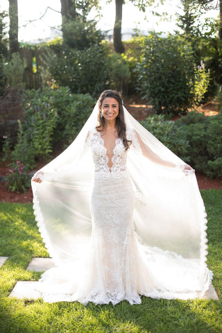 Cathedral Length Bridal Veil with Eyelash Lace Trim Edge