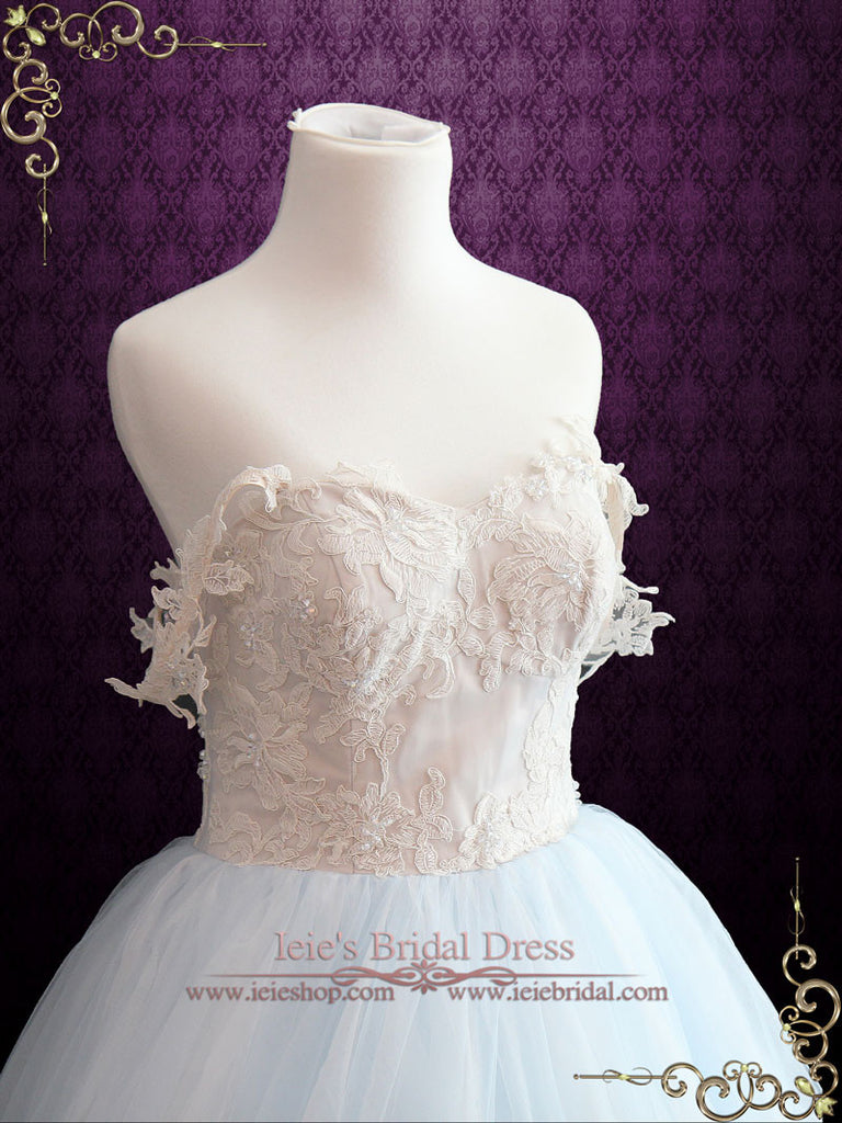 Light Blue Wedding Dress With Lace Bodice | Faith