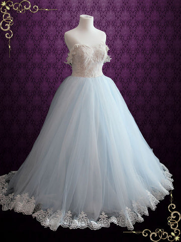 Light Blue Princess Wedding Dress With Lace Bodice and Tulle Ball Gown Skirt | Faith