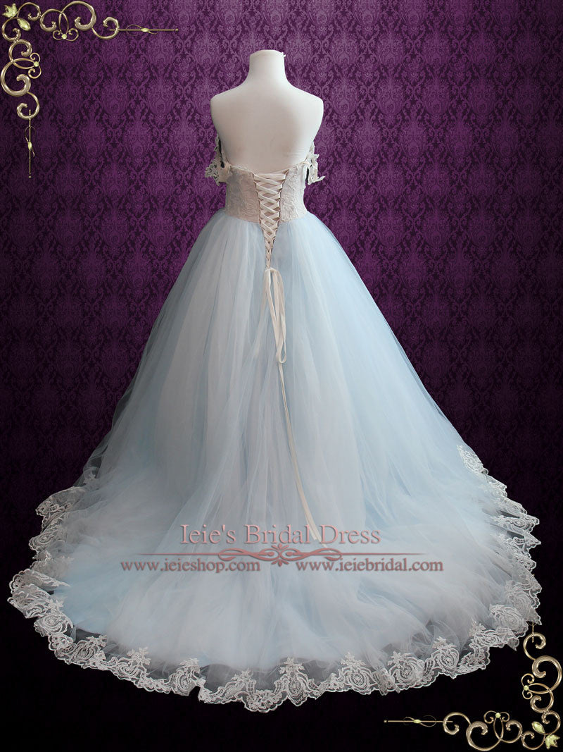 Light Blue Princess Wedding Dress With Lace Bodice And Tulle Ball Gown Skirt