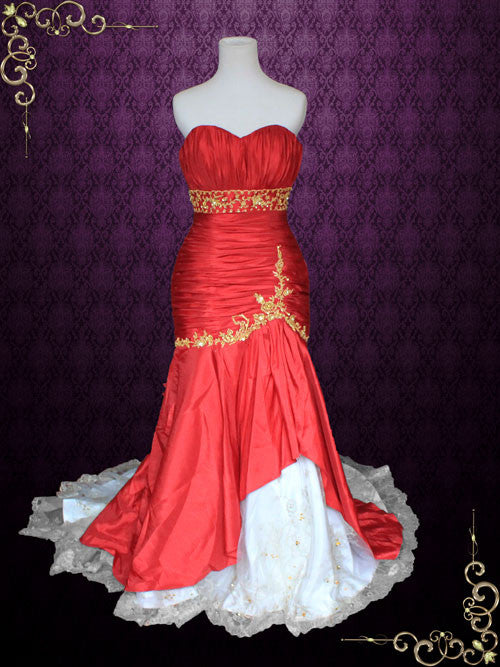 Strapless Red And Gold Mermaid Wedding Dress