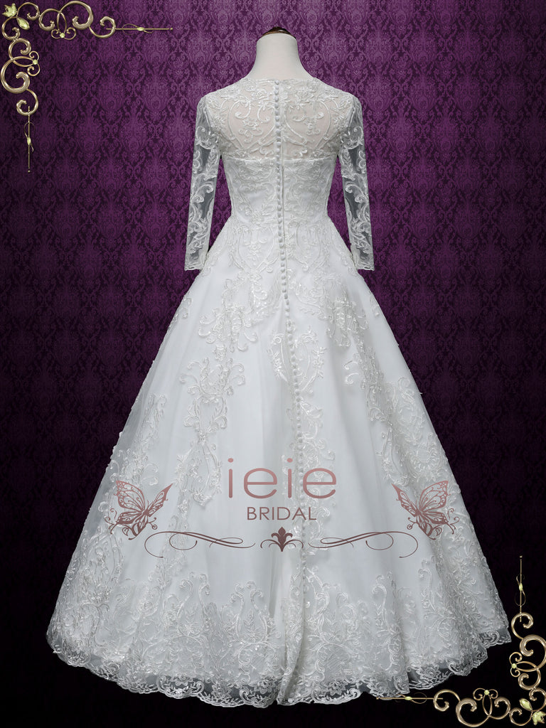 Long Sleeves Lace A-line Wedding Dress | AUGUSTINE