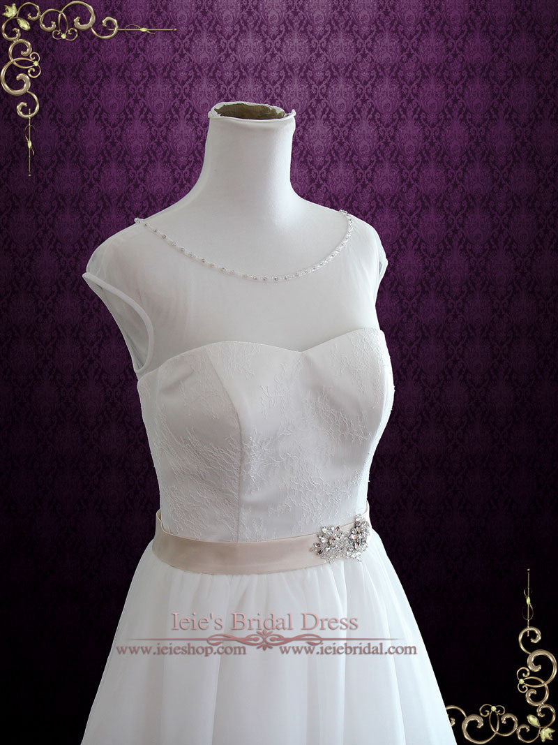 Vintage Inspired Tea Length Illusion Neck Tull Wedding Dress