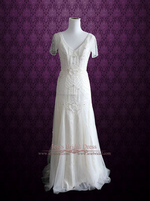 Ivory Grecian Boho Wedding Dress