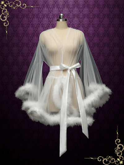 Marabou Fur Illusion Bridal Honeymoon Boudoir Robe | Cici