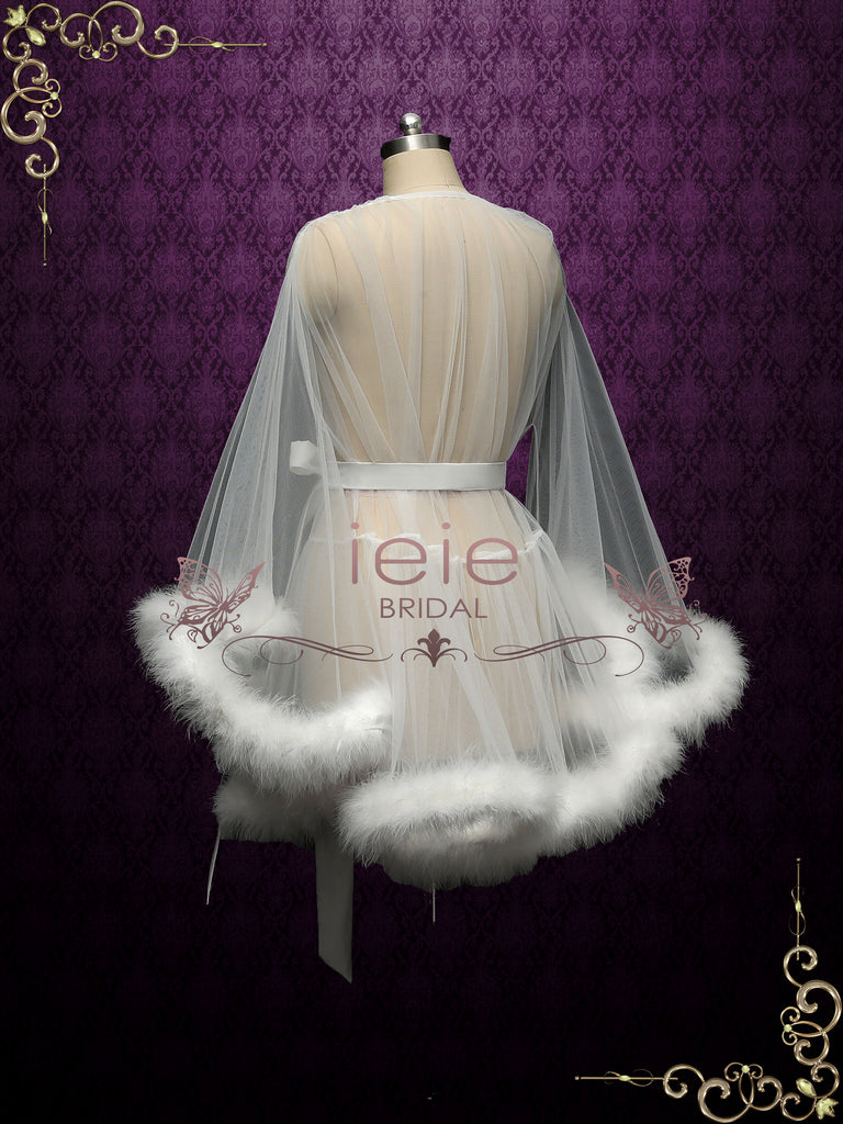 Marabou Fur Illusion Bridal Honeymoon Boudoir Robe Cici