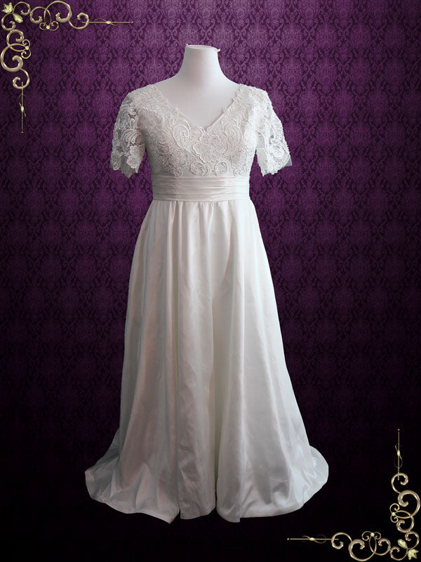 Vintage Style Plus Size Ivory Lace Wedding Dress With Sleeves And