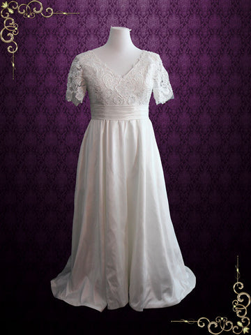 Vintage Style Plus Size Ivory Lace Wedding Dress with Sleeves and Side Pockets | Brenda