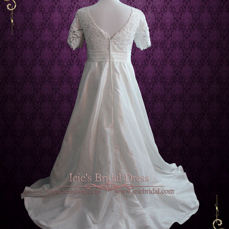 Vintage Style Plus Size Ivory Lace Wedding Dress with Sleeves and ...