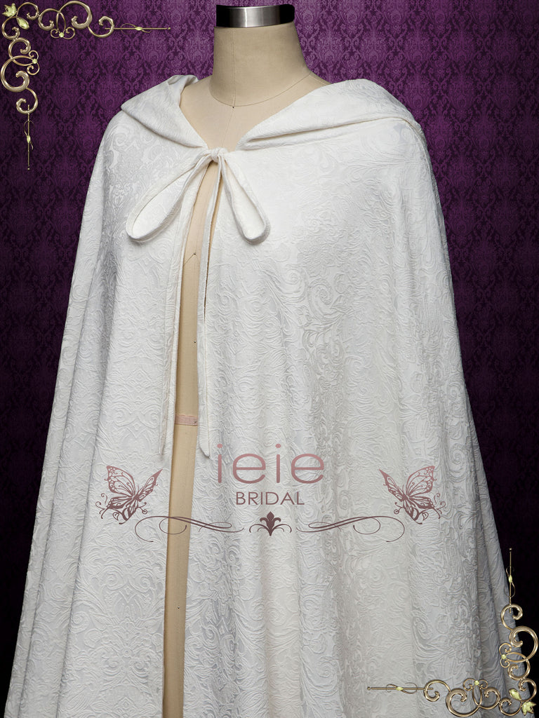 Ivory Medieval Cotton Jacquard Wedding Cloak Y200502