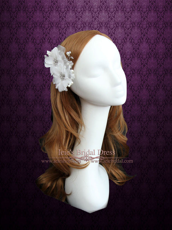 Bridal Ivory Twin Flower Hair Clip VG1034