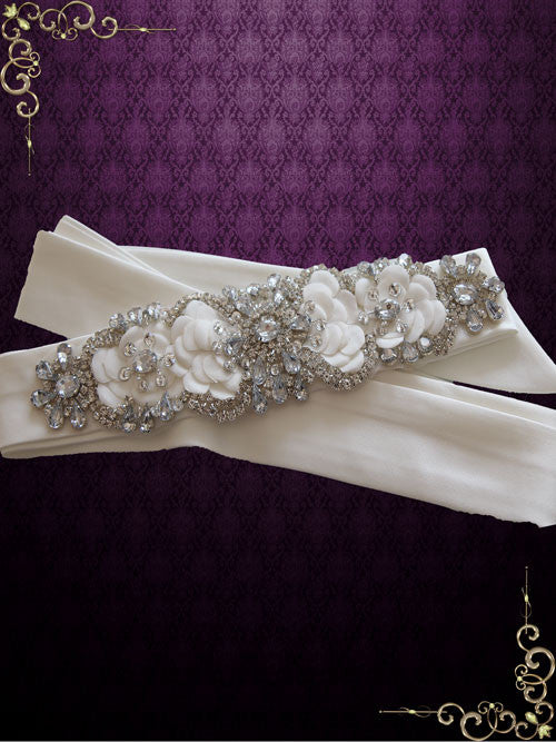 Jeweled Crystal Bridal Sash with Rhinestones