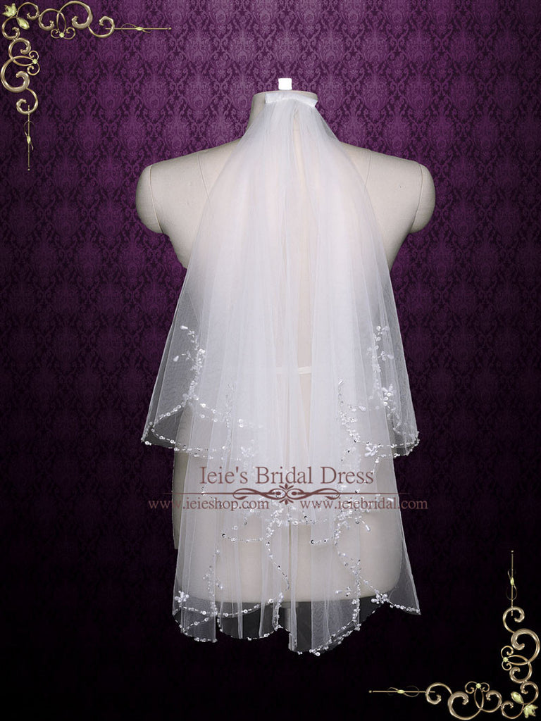 exquisite short two tier wedding veil with beadings ieie bridal