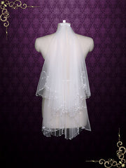 2 Tier Fingertip Bridal Veil with Sparkly Beadings on Edge