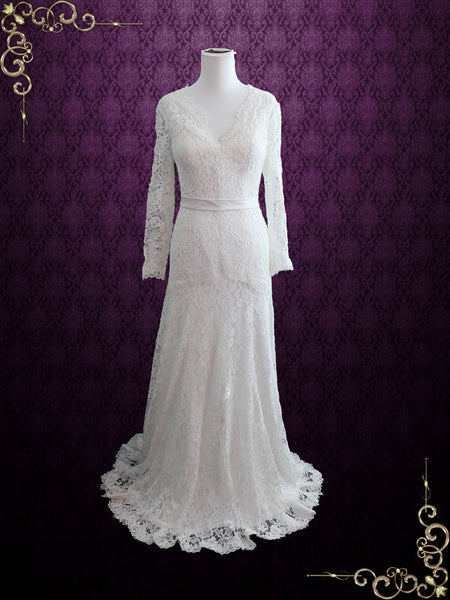 Slim A-line Lace Wedding Dress with Long Sleeves