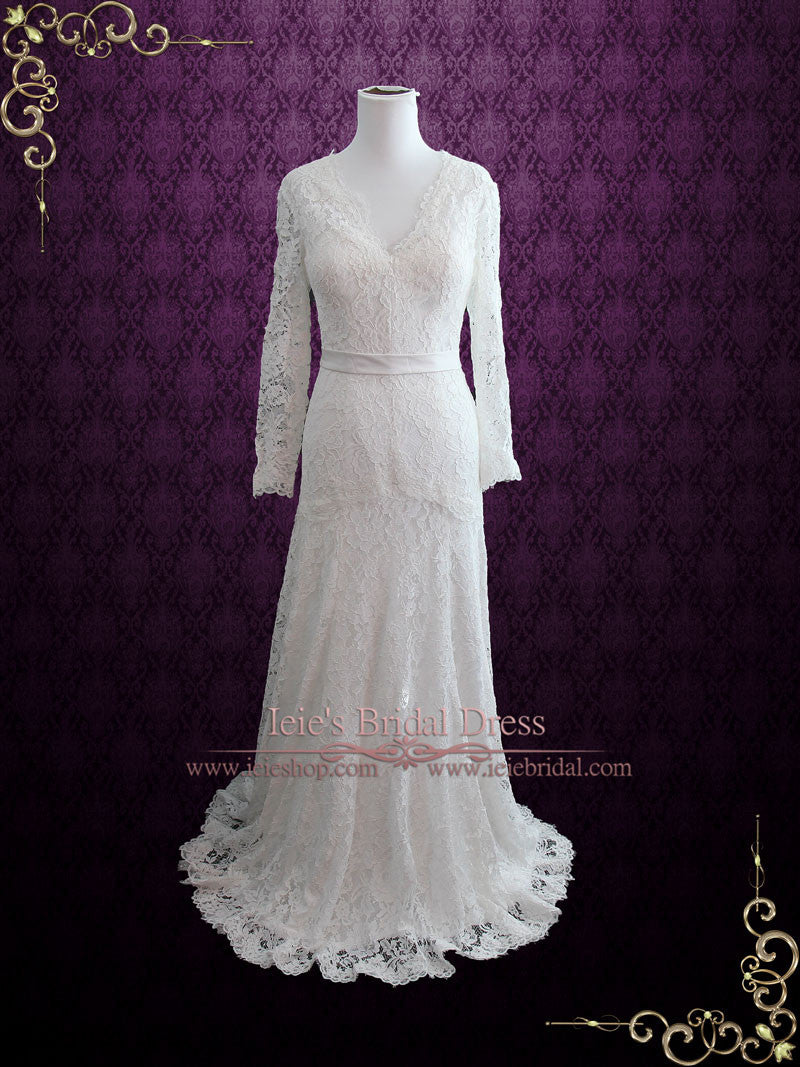 Slim A-line Lace Wedding Dress with Long Sleeves – ieie