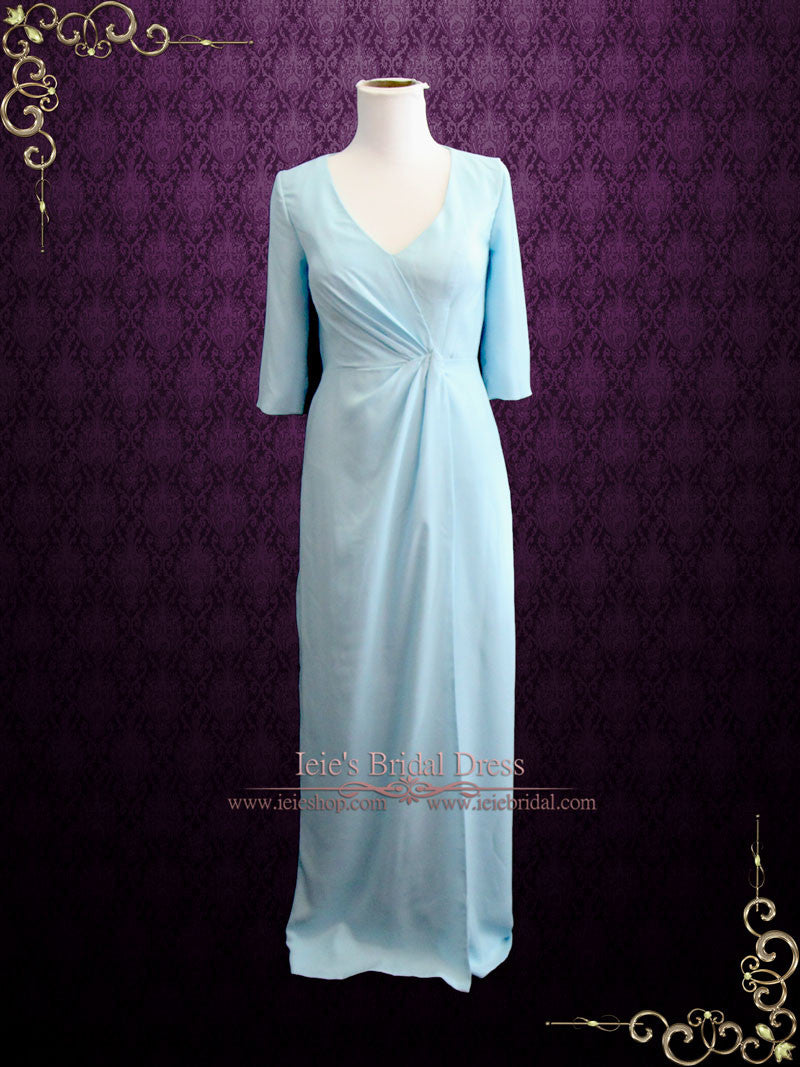 Powder Blue Formal Evening Prom Dress with Mid Sleeves | Kimberly – ieie
