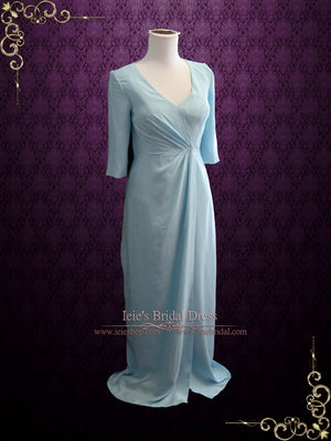 Powder Blue Formal Evening Prom Dress with Mid Sleeves | Kimberly