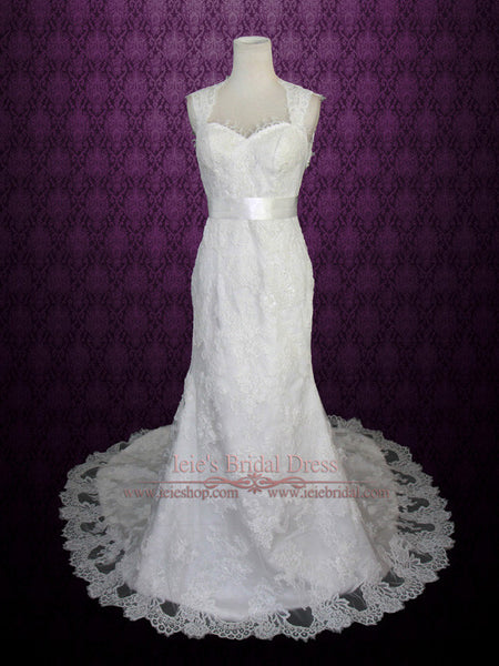 Keyhole Cap Sleeves Lace Wedding Dress with Eye Lash Chantilly French Lace