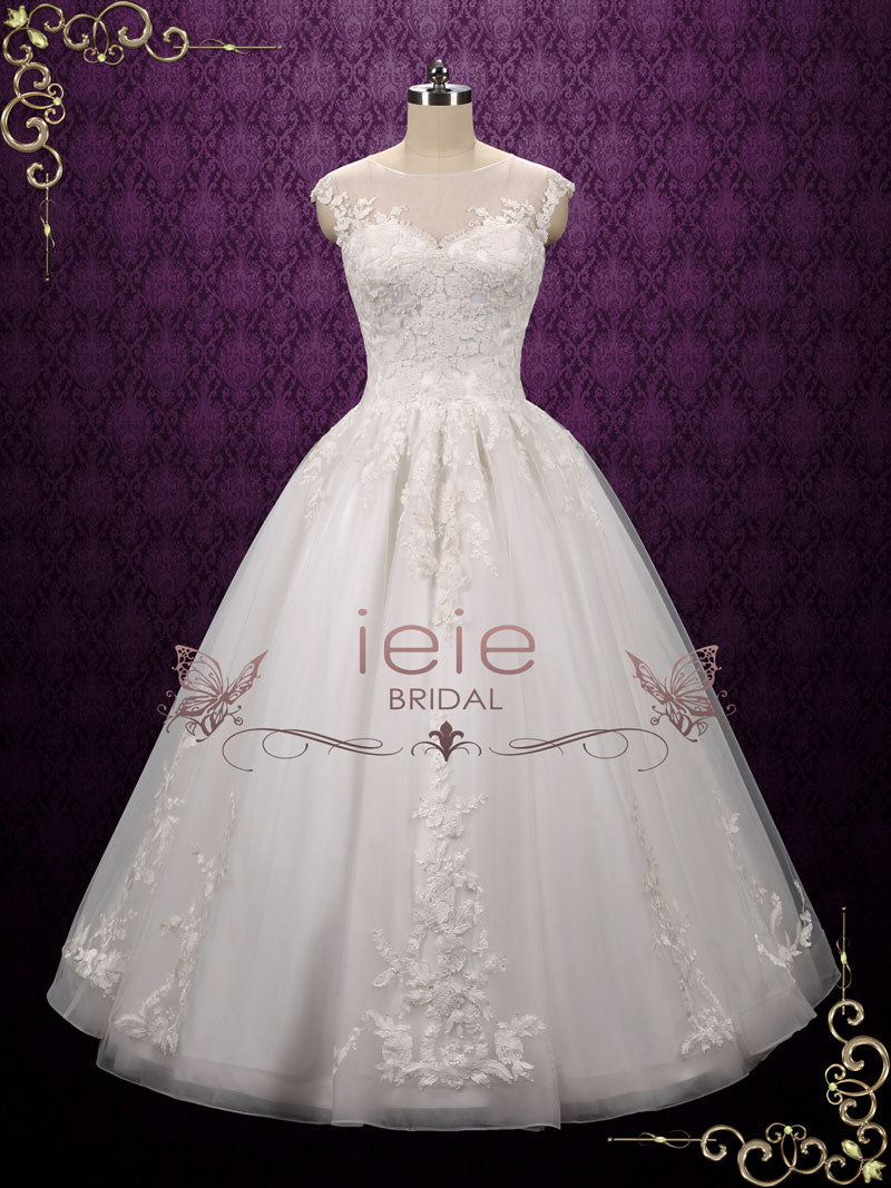 Lace Ball Gown Wedding Dress with Illusion Neckline | Archie