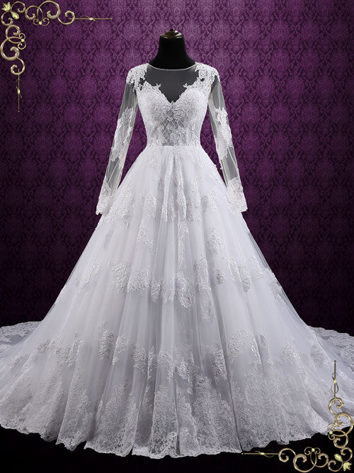 Ball Gown Lace Wedding Dress with Long Sleeves | Mila