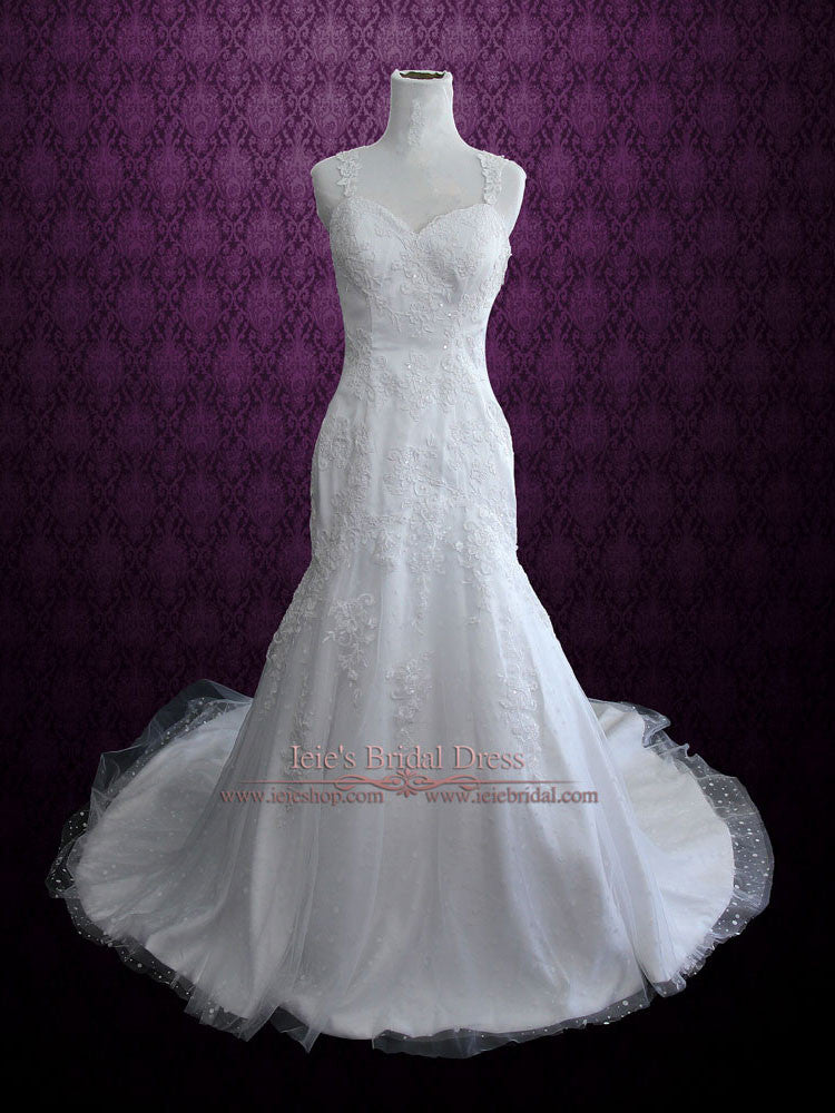 Lace Fit And Flare Wedding Dress With Beautiful Lace Covered Back