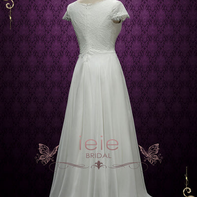 Romantic Chiffon Lace Wedding Dress | Celina