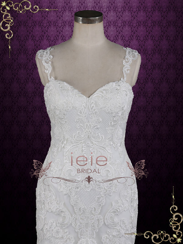 Lace Fit and Flare Wedding Dress with Straps | Lorita