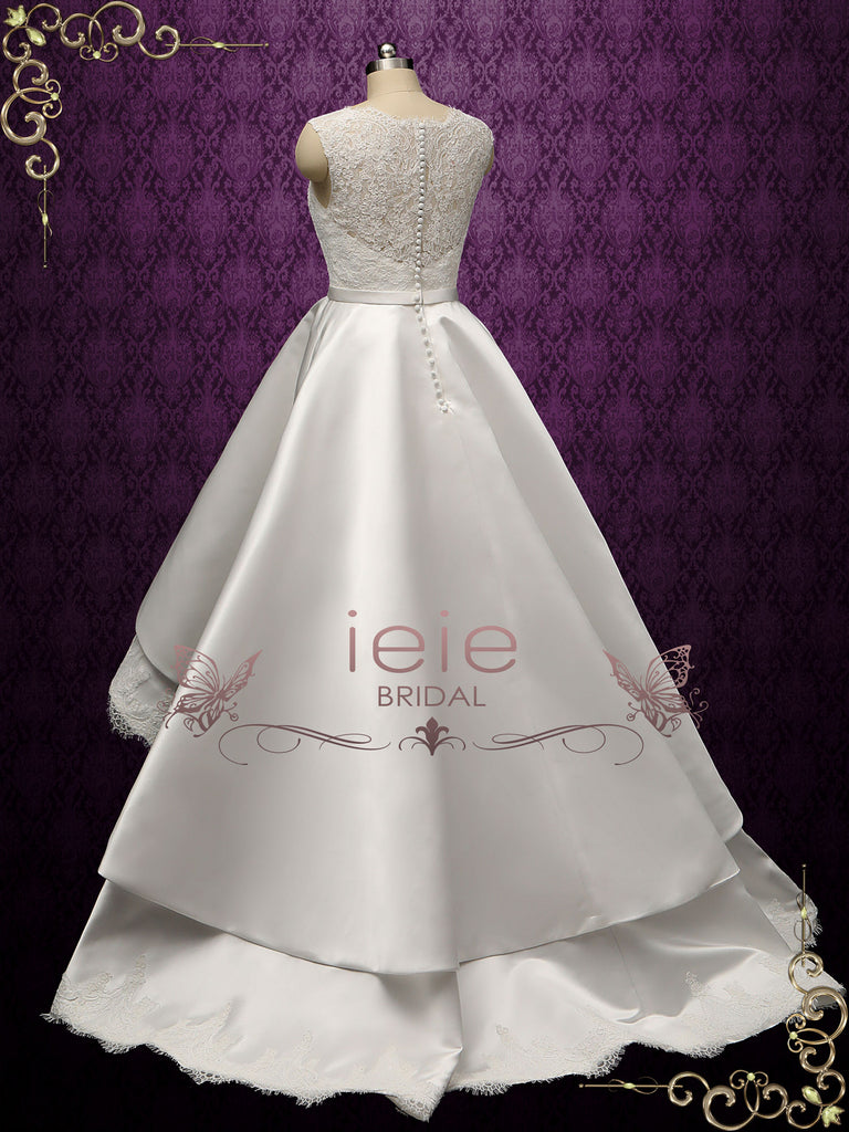 Modern Lace High Low Wedding Dress BECA