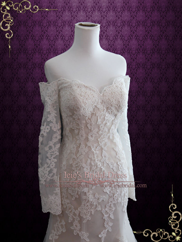 Sexy Vintage Style Lace Wedding Dress with Off Shoulder Long Sleeves MEG