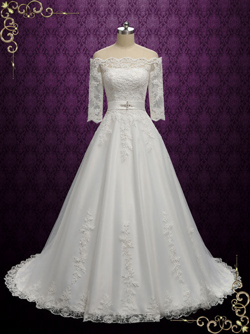 Vintage Style Lace Offer Shoulder Wedding Dress | Deanna