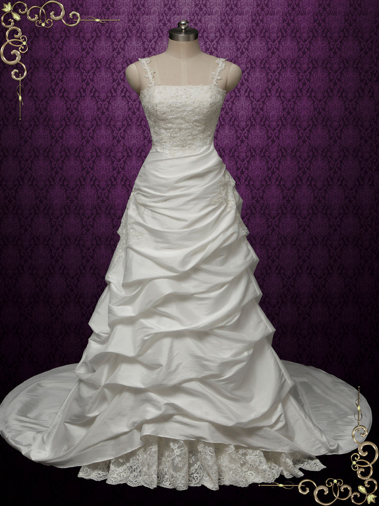 A-line Taffeta Wedding Dress with Pick-up Skirt SABRINA