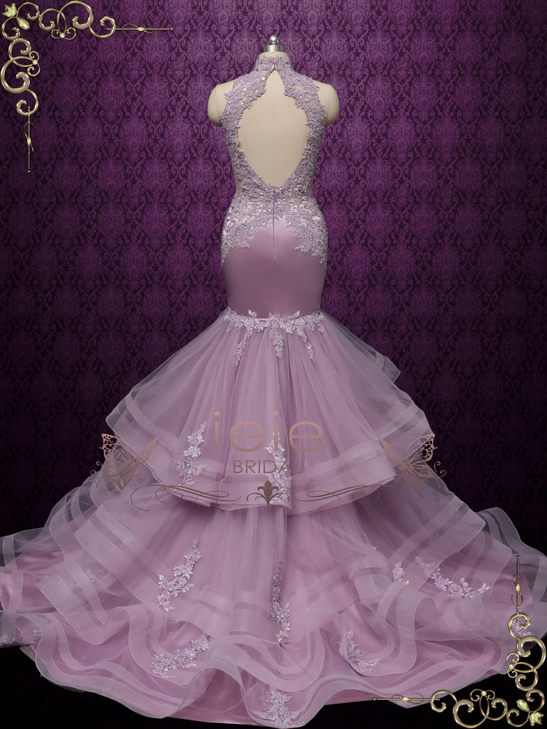 Lavender Mermaid Wedding Dress with Ruffles GLORIA II